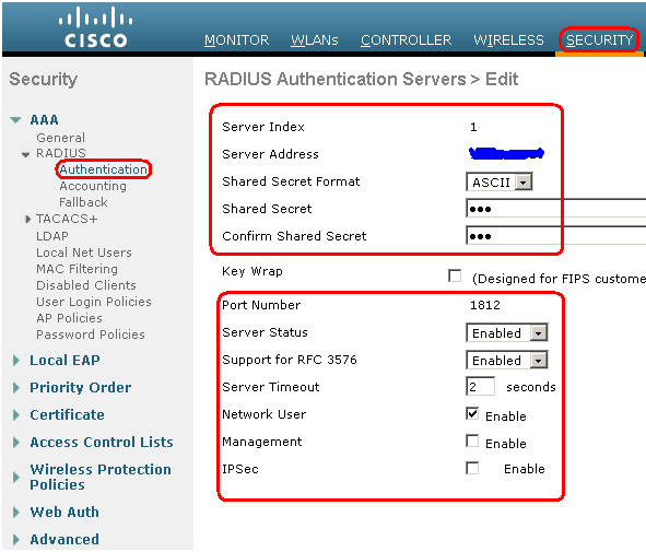 Configure radius server on wlc another wireless blog make sure that the shared secret configured on this page matches with the shared secret configured on the radius server only then the wlc can communicate cheapraybanclubmaster Images